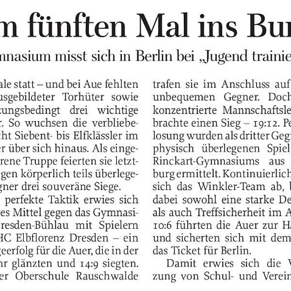 Auer ziehen zum fünften Mal ins Bundesfinale ein - 06.05.2019