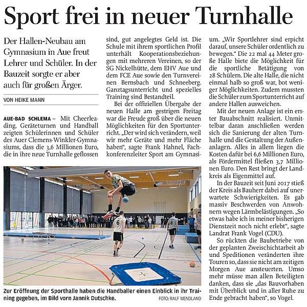 Sport frei in neuer Turnhalle - 09.03.2019