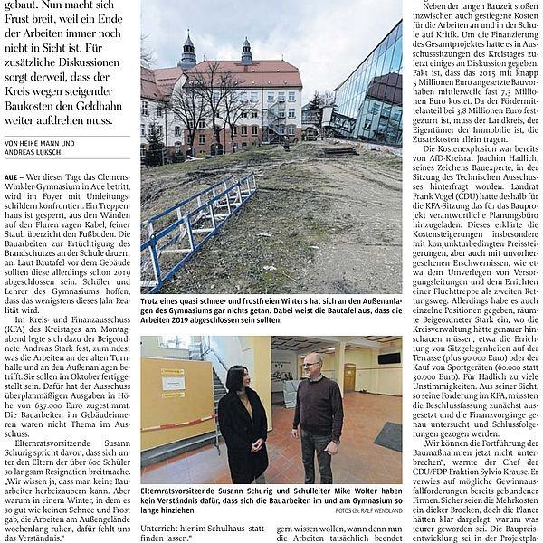 Längere Bauzeit, höhere Kosten – im Gymnasium herrscht dicke Luft - 04.03.2020