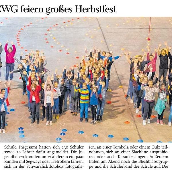 Gymnasiasten des CWG feiern großes Herbstfest - 04.10.2019
