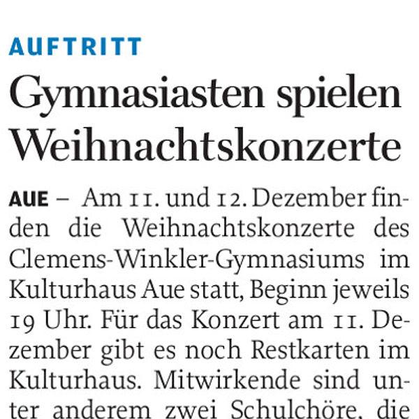 Gymnasiasten spielen Weihnachtskonzerte - 15.12.2019