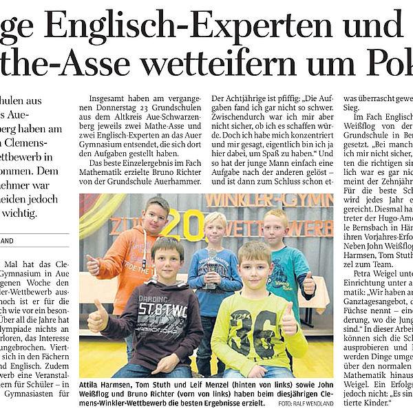 Junge Englisch-Experten und Mathe-Asse wetteifern um Pokal - 25.11.2015