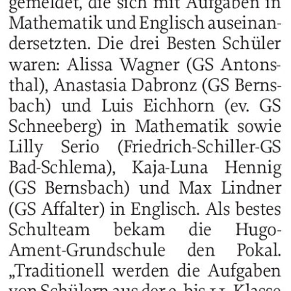 Beste Viertklässler in Mathe und Englisch - 23.11.2018